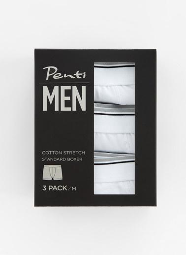 Penti Optik Beyaz Basic Tape 3Lü Mıd Boxer Beyaz